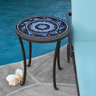 Navagio Mosaic Chaise Table-Iron Accents