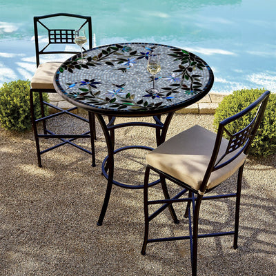 Royal Hummingbird Mosaic High Dining Table-Iron Accents