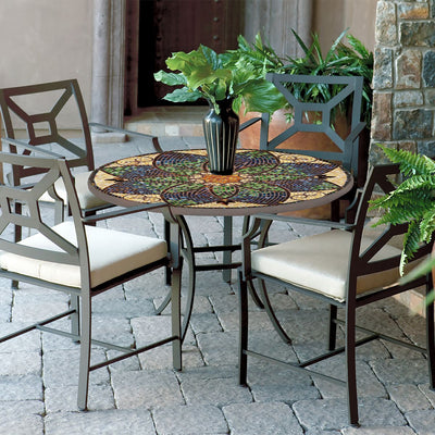 Monaco Mosaic Patio Table-Iron Accents