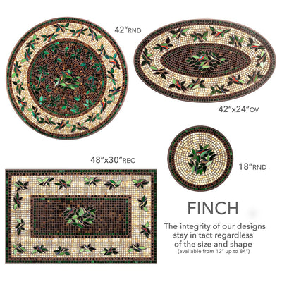 Finch Mosaic Table Tops-Iron Accents