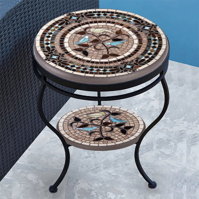 Provence Mosaic Side Table - Tiered-Iron Accents