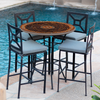 Mahogany Atlas Mosaic High Dining Table-Iron Accents