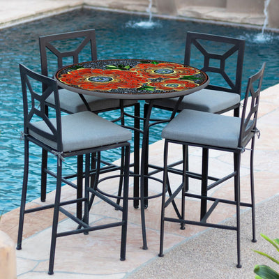 Zinnia Mosaic High Dining Table-Iron Accents