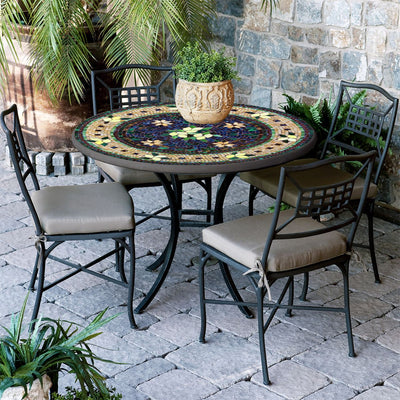 Tuscan Lemons Mosaic Patio Table-Iron Accents