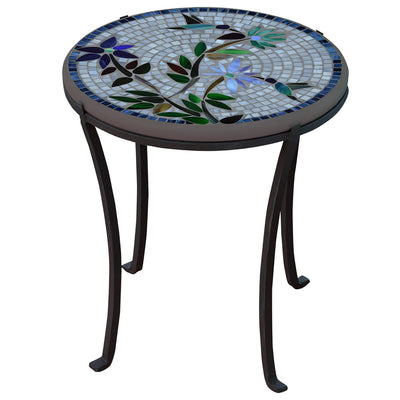 Royal Hummingbird Mosaic Chaise Table-Iron Accents