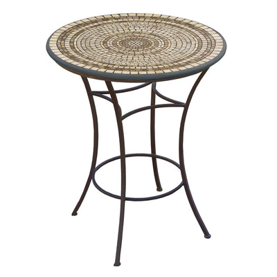 Marble Stone Mosaic High Dining Table-Iron Accents