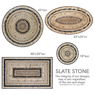 Slate Stone Mosaic Table Tops-Iron Accents