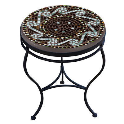 Oasis Mosaic Side Table-Iron Accents