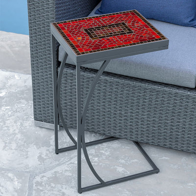 Ruby Glass Mosaic C-Table-Iron Accents