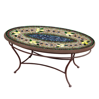 Tuscan Lemons Mosaic Coffee Table - Oval-Iron Accents