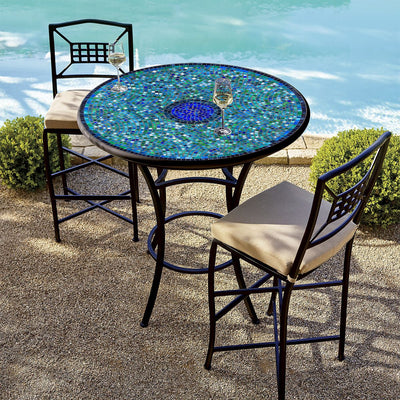 Opal Glass Mosaic High Dining Table-Iron Accents