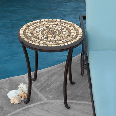 Marble Stone Mosaic Chaise Table-Iron Accents