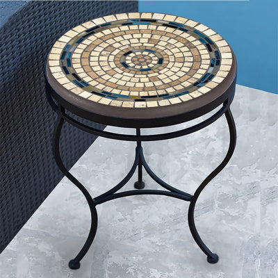 Slate Stone Mosaic Side Table-Iron Accents