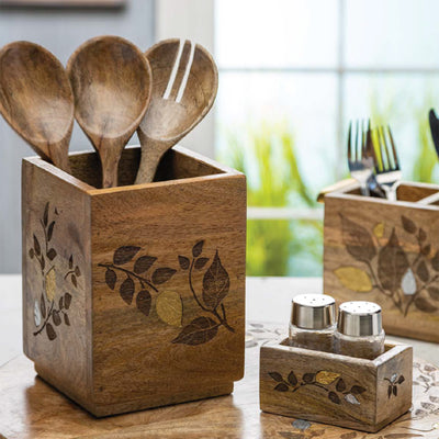 Metal Inlay Utensil Caddy-Iron Accents