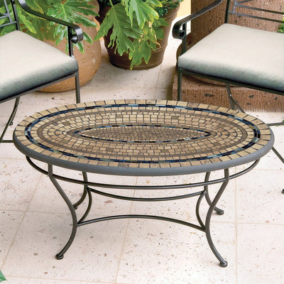 Slate Stone Mosaic Coffee Table - Oval-Iron Accents
