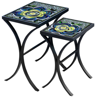 Giovella Mosaic Nesting Tables-Iron Accents