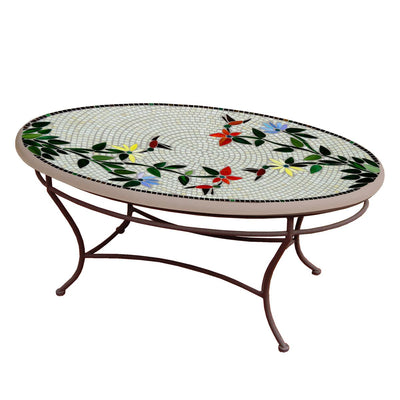 Hummingbird Mosaic Coffee Table - Oval-Iron Accents