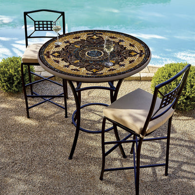 Almirante Mosaic High Dining Table-Iron Accents