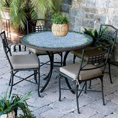 Belize Mosaic Patio Table-Iron Accents