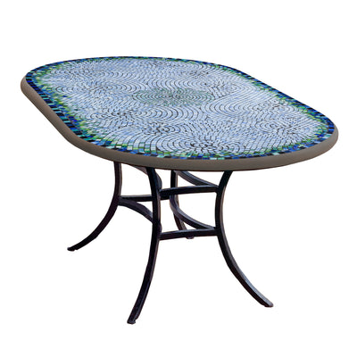 Belize Mosaic Oval Bistro-Iron Accents