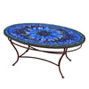 Bella Bloom Mosaic Coffee Table - Oval-Iron Accents