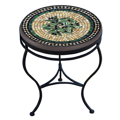 Black Olives Mosaic Side Table-Iron Accents