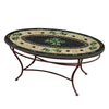Black Olives Mosaic Coffee Table - Oval-Iron Accents
