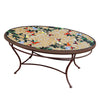 Caramel Hummingbird Mosaic Coffee Table - Oval-Iron Accents