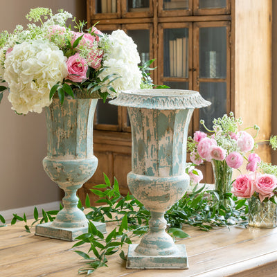 French Mantel Urn-Iron Accents
