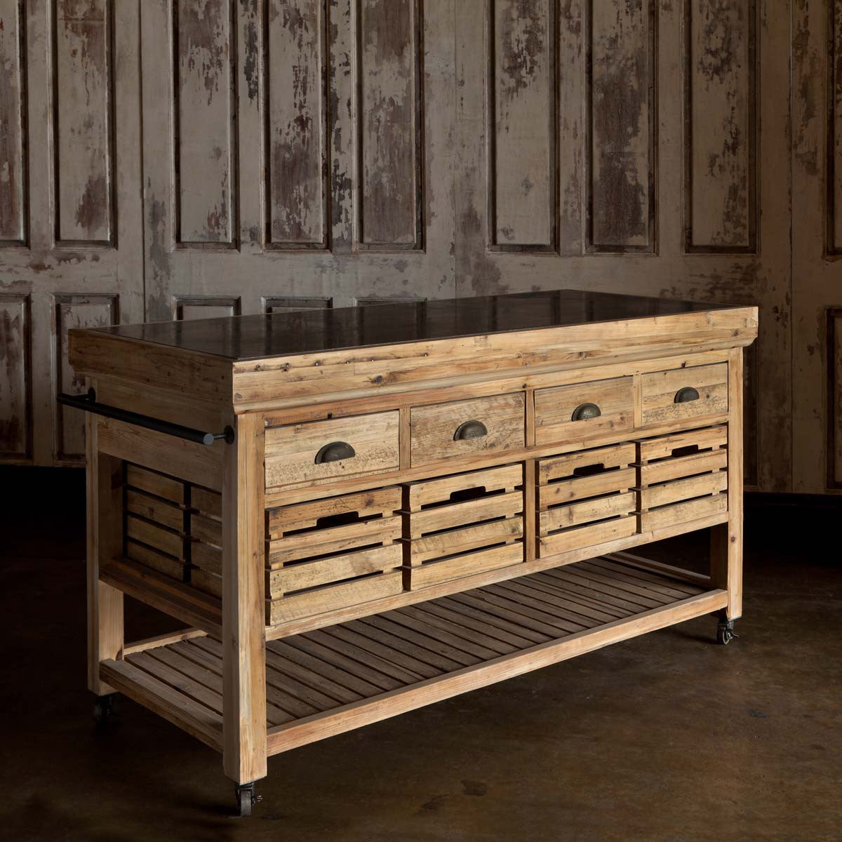 Rolling Kitchen Island Iron Accents