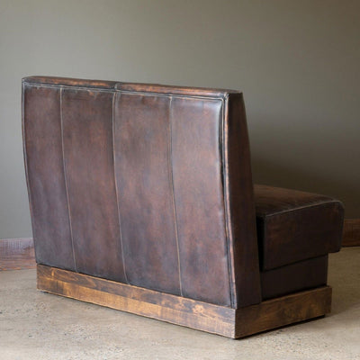 Aged Leather Banquette-Iron Accents