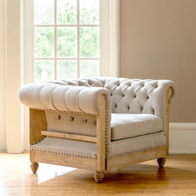 Hillcrest Tufted Chair-Iron Accents