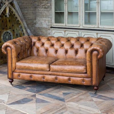 Harrisburg Leather Study Sofa | Iron Accents