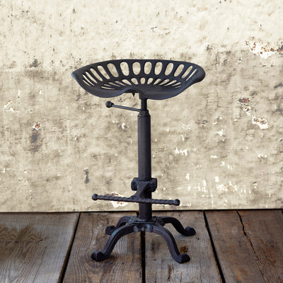 Adjustable Tractor Seat Stool-Iron Accents