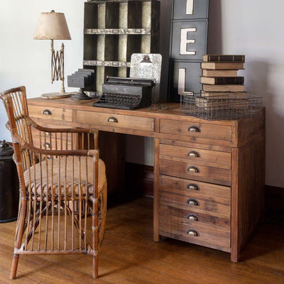 Old Pine Map Drawer Desk-Iron Accents