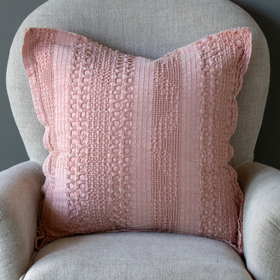Heathered Waffle Weave Pillows - Faded Coral