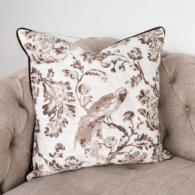 Brown Down Filled Bird Toile Pillow (Set-2) | Iron Accents