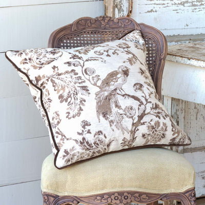 Brown Down Filled Bird Toile Pillow (Set-2)