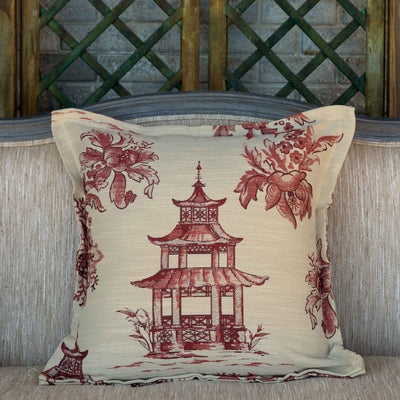 Coral Pagoda Pillow-Iron Accents