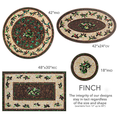 Finch Mosaic Nesting Tables-Iron Accents