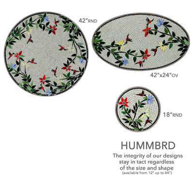 Hummingbird Mosaic Coffee Table - Rect-Iron Accents