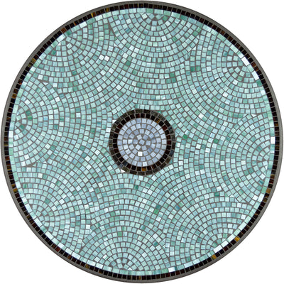 Jade Glass Mosaic Nesting Tables-Iron Accents