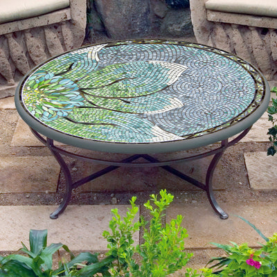 "Lovina 42"" Mosaic Coffee Table-Iron Accents"