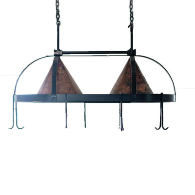 Oval Copper Lighted Pot Rack
