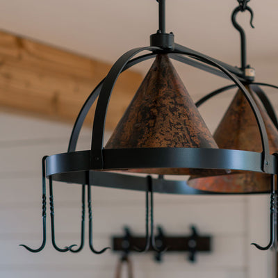 Oval Copper Lighted Pot Rack Close Up