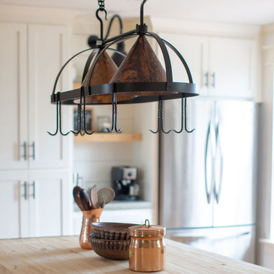 Stone County Oval Copper Lighted Pot Rack