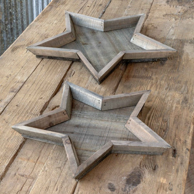 Wooden Star Trays-Iron Accents