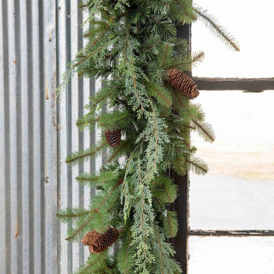 Mixed Evergreen Garland with LED - 9'