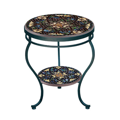 Monaco Mosaic Side Table - Tiered-Iron Accents