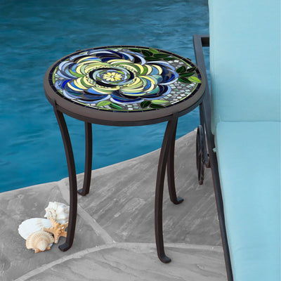 Giovella Mosaic Chaise Table-Iron Accents
